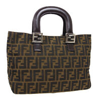 FENDI Zucca Hand Tote Bag 2119/26693/018 Purse Brown Canvas Leather Italy 37346