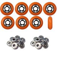 Inline Skate Wheels 76mm 89A Outdoor Orange Rollerblade 8Pk with Abec 5 Bearings