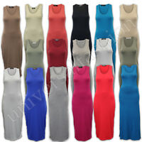 Ladies Maxi Dress Women Sleeveless Jersey Plain Midi Stretch Long Racer Back New