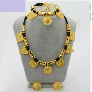 Ethiopian Jewelry Set Necklace Bracelet Earrings Ring Bridal Jewelries in Gold