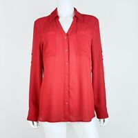 Express Size Large Top Portofino Shirt Button Down Long Sleeve Red Blouse