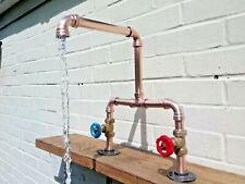 Copper Pipe Double Sink Swivel Mixer Tap - Wide Reach - Rustic / Industrial