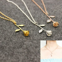 Rose Gold Silver Chain Choker Rose Flower Pendant Necklace Valentine's Best Gift