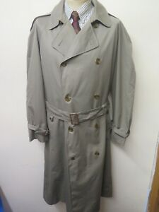 "Genuine Vintage Aquascutum Olive Raincoat Trench Coat Mac Size 44"" R Euro 54 R"
