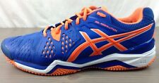 Asics Tennis Shoes 12.5 Mens Gel Resolution 6 Clay Court Leather Orange Blue