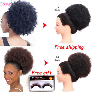 "8""Afro Kinky Curly Bun Puff Drawstring Ponytail Clip In Synthetic Hair Extension"
