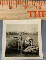 Original WWII Photo Crashed British Bomber Aircraft Plane w/ US Soldier Posing