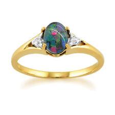 Anelli di lusso con gemme blu ovale in pietra principale opale