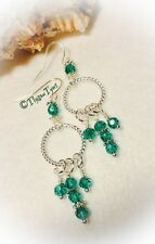 Dangle Earrings...Crystal Malachite Green..Silver Plated...'Dreamcatcher' Style.