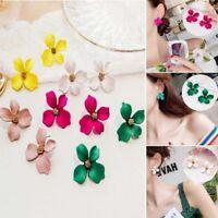 Fashion Elegant Boho Painting Big Flowers Ear Stud Earrings Women Charm Jewelry