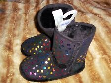 Claires kids girl's sleeper boots black polka dots sz m 5/6