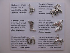 Horse charms for scrapbooking, card and jewelry making - 6 charms and quotes