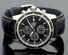 CASIO EDIFICE Chronograph 100M EFR526L-1AV EFR-526L-1AV Black Leather @