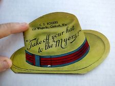1928 Die Cut Advertising Trade Card Shaped Like Hat For Myers Farm Equipment