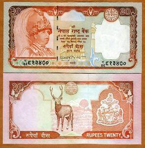 Nepal, 20 Rupees, ND (2002), P-47, Sig. 15 UNC > Deer, King Gyanedra Bir Bikram