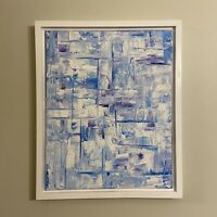 Blue White & Purple New Abstract original modern acrylic painting | ships free