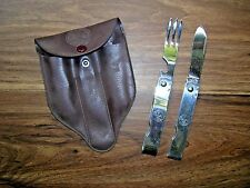Vtg Boy Scouts 2 Piece Mess Kit Utensils Folding Knife & Fork Pouch Imperial SS