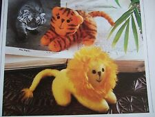 Vintage sewing pattern Jean Greenhowe Jungle Beanies Toy Lion Tigre