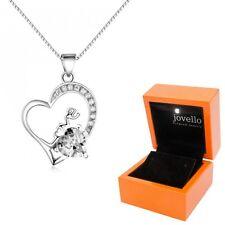 925 Silber Herz Kristall Zirkonia Anhänger mit Kette Halskette + LED Holzbox