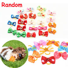 5 PCS Random Elastic Heart Hair Rope Ring Flower Bows Pet Hair Band Dog Tiara