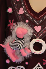 Ugly Christmas Sweater VS Pink Puppy Dog SIZE Large Lights Up Snowflakes #15D42
