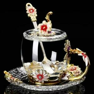 Hand-made Enamel Flower Glass Cup Coffee Mug Kungfu Scented Tea Mug Milk Lemon J
