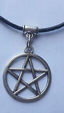 PENTAGRAM  CHARM ON 2MM  BLACK LEATHER CHOKER  CHARM NECKLACE. 14 INCHES