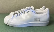 Adidas Superstar 80s Clean Cracked Leather Cloud White Gold Mens Sz 9 AQ1022 NEW