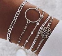Fashion Women 5Pcs Crystal Hollow Tree Adjustable Open Bangle Bracelet Jewelry