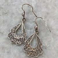 Vintage Scroll Filigree 925 Sterling Silver Italy Drop Hook Earrings