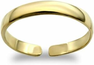 Toe Ring Hallmarked Solid 9ct Yellow Gold Plain D-Shape Band Adjustable
