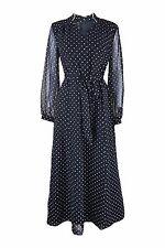 *ESCO* BLACK VINTAGE LONG SLEEVE POLKA DOT MAXI DRESS (UK 8)