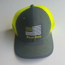 New listing Rain Bird Sprinklers American Flag Snapback Mesh Trucker Hat Cap Neon Green New