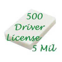 500 Drivers License Laminating Pouches Laminator 5 Mil 2-3/8 x 3-5/8 Scotch Qual