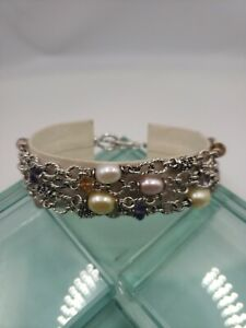 Sterling Silver, Pearl and Gemstone Signed Michael Dawkins Cha Cha Bracelet