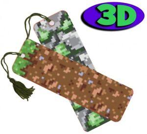 Pixel Camouflage Moving 3D Hologram Bookmark With Tassel Book Place Holder 15 CM