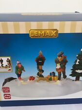 lemax Christmas village  moving figurine Boy chasing the dog and Postman