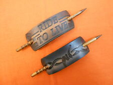 2 Leather Hair Barrettes w Sticks, Ponytail Ride to Live Biker Hand Crafted #225