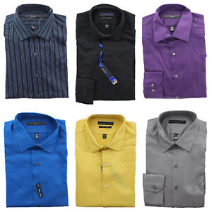 Geoffery Beene Dress Shirt Men's Wrinkle Free No Iron Fitted Button Up