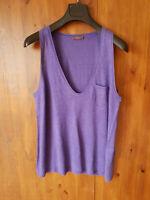 RRP £99 WRAP SUMMER 100% LINEN LONGLINE Dark Purple Vest Top 12 16 18 20 22 NEW