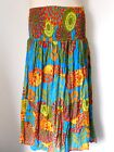 Free Size 12 14 16 18 20 Green Blue Red Cotton Maxi Skirt Elastic Waist NWOT