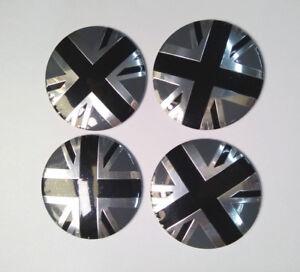 56mm 4Pcs Black Union Jack Car Wheel Hub Cap Sticker Decal Center Cover Emblem