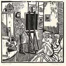 ROLAND R. BERGER - Maler und Modell - Holzschnitt 1980