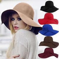 Vintage Women's Ribbon Wide Brim Soft Wool Felt Bowler Fedora Hat Floppy Cloche
