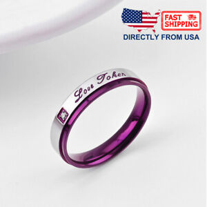 """Couple's Matching Promise Ring """"Love Token"""" His or Her Comfort Fit Wedding Band"""