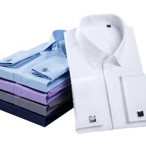 Mens Dress Shirts Long Sleeves French Cuff Formal Business With Cufflinks Shirts