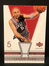 JASON KIDD 2002-03 UD Glass Get Real! Game Used JERSEY Card New Jersey Nets
