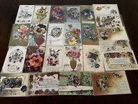 Nice~LOT of 25 ~Pansies~PANSY~Flowers Floral~Greetings Postcards-In Sleeves-b406