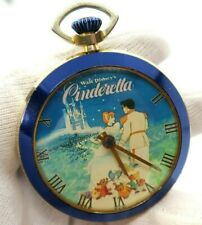 "CINDERELLA,70's,RARE! ""Castle"" Wind-up,Character POCKET WATCH,1153,L@@K"