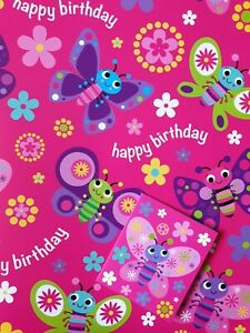 2 SHEETS OF GLOSSY GIRLS BUTTERFLY BIRTHDAY WRAPPING PAPER + 1 MATCHING GIFT TAG